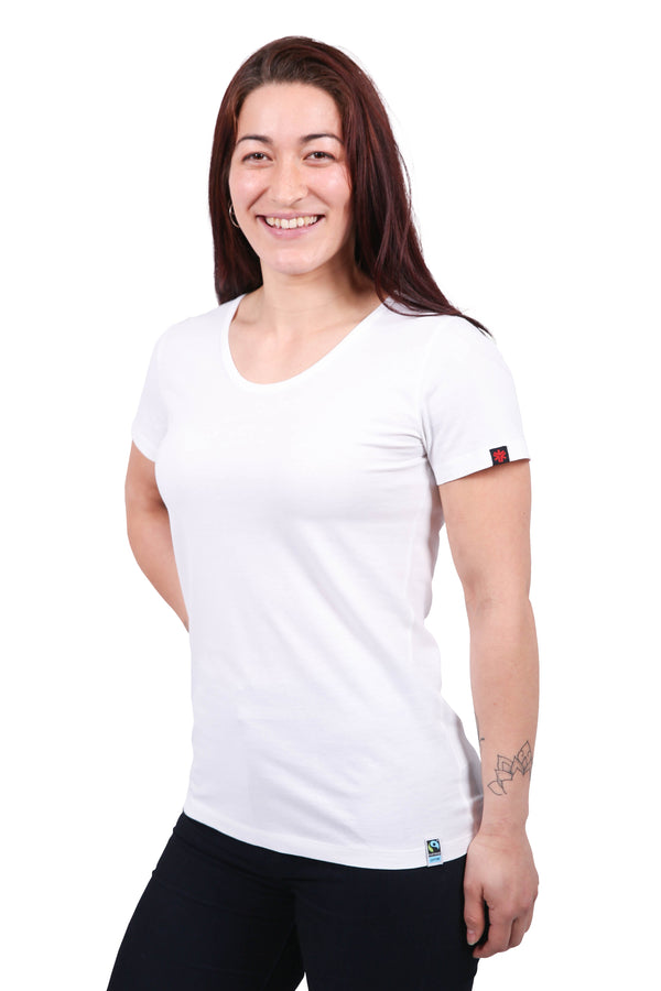 Womens White Organic Fairtrade Tee