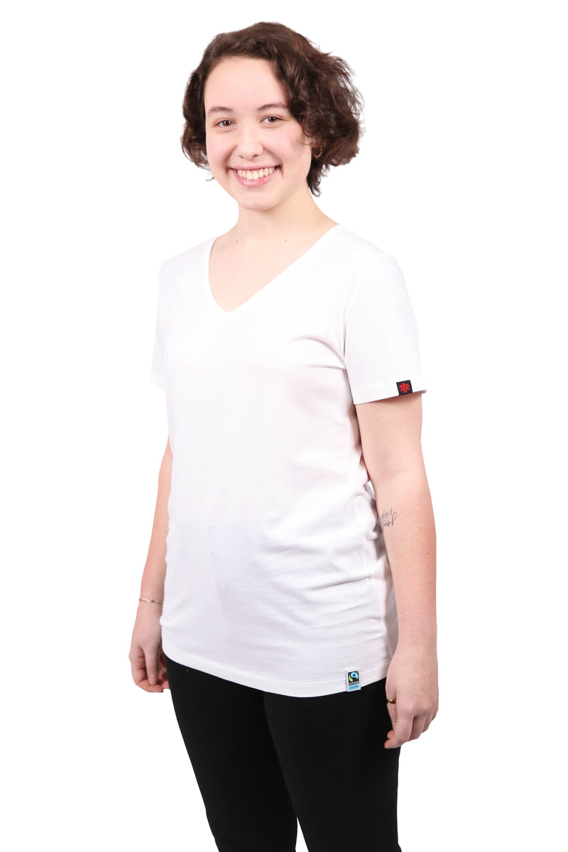 Womens White V-Neck Organic Fairtrade Tee