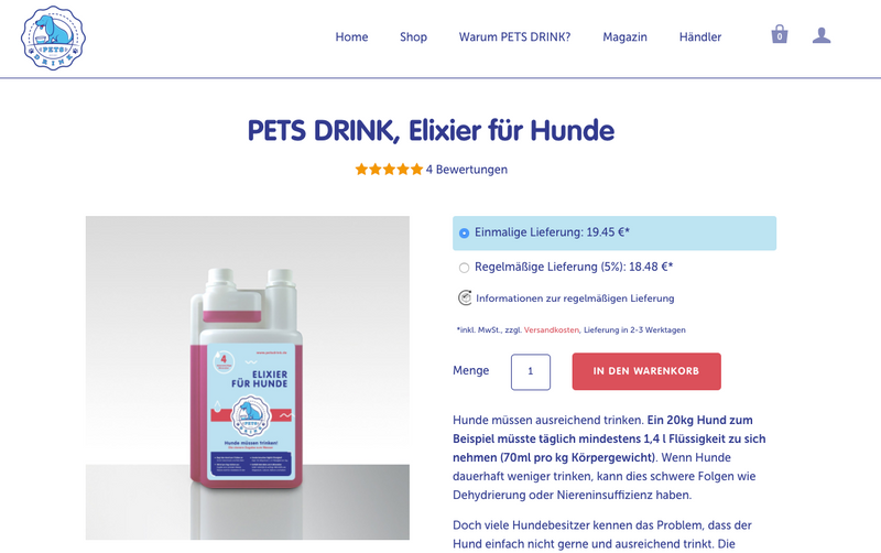 Abonnement im PETS DRINK Shop