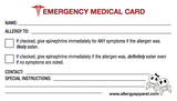 Emergency Medical Card, Plastic
