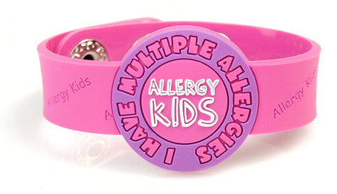 "Allergy Kids, ""I have Multiple allergies"" wristband - PINK"