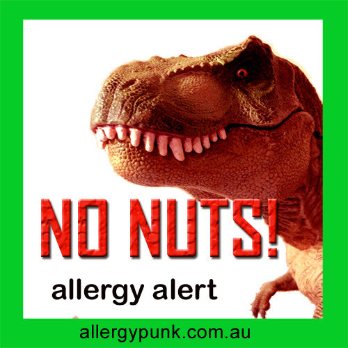 No Nuts, Dinosaur, nut allergy alert, sticker pack - allergypunk