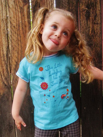 Food allergy alert t-shirt, ladybug design