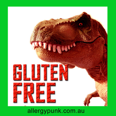 Gluten free alert sticker pack, dinosaur design