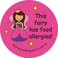 This Fairy has Food Allergies!  alert badge and sticker pack