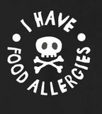 """I have food allergies"", allergy awareness, BLACK short sleeve t-shirt - allergypunk - 3"