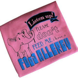 Pink and Blue Food Allergy Alert T-shirt for Toddlers & Children