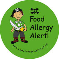 Pirate, Food allergy alert badge and sticker pack - allergypunk