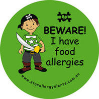 Beware I Have Food Allergies, alert badge and sticker pack, green - allergypunk
