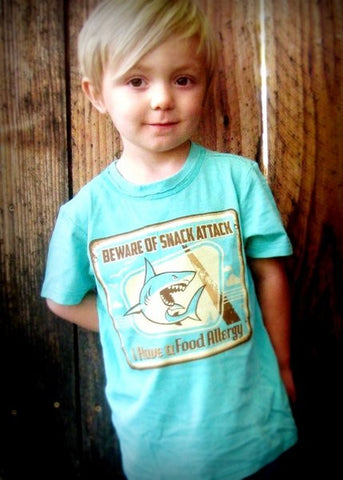 Shark attack design, food allergy alert t-shirt