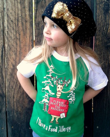 Children's allergy tees - Christmas reindeer tee, food allergy alert t-shirt