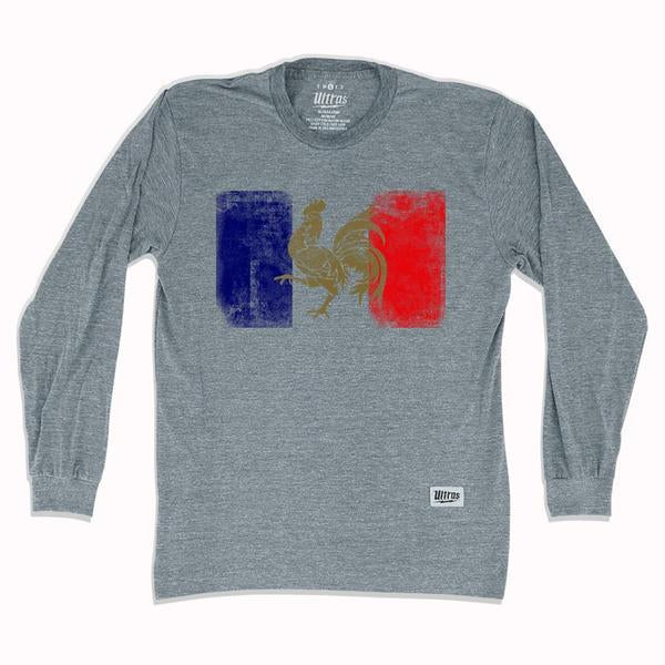 France Flag Vintage Soccer Long Sleeve T-shirt in Athletic Grey by Ultras