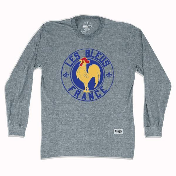 France Rooster Les Bleus Soccer Long-Sleeve T-shirt in Athletic Grey by Ultras