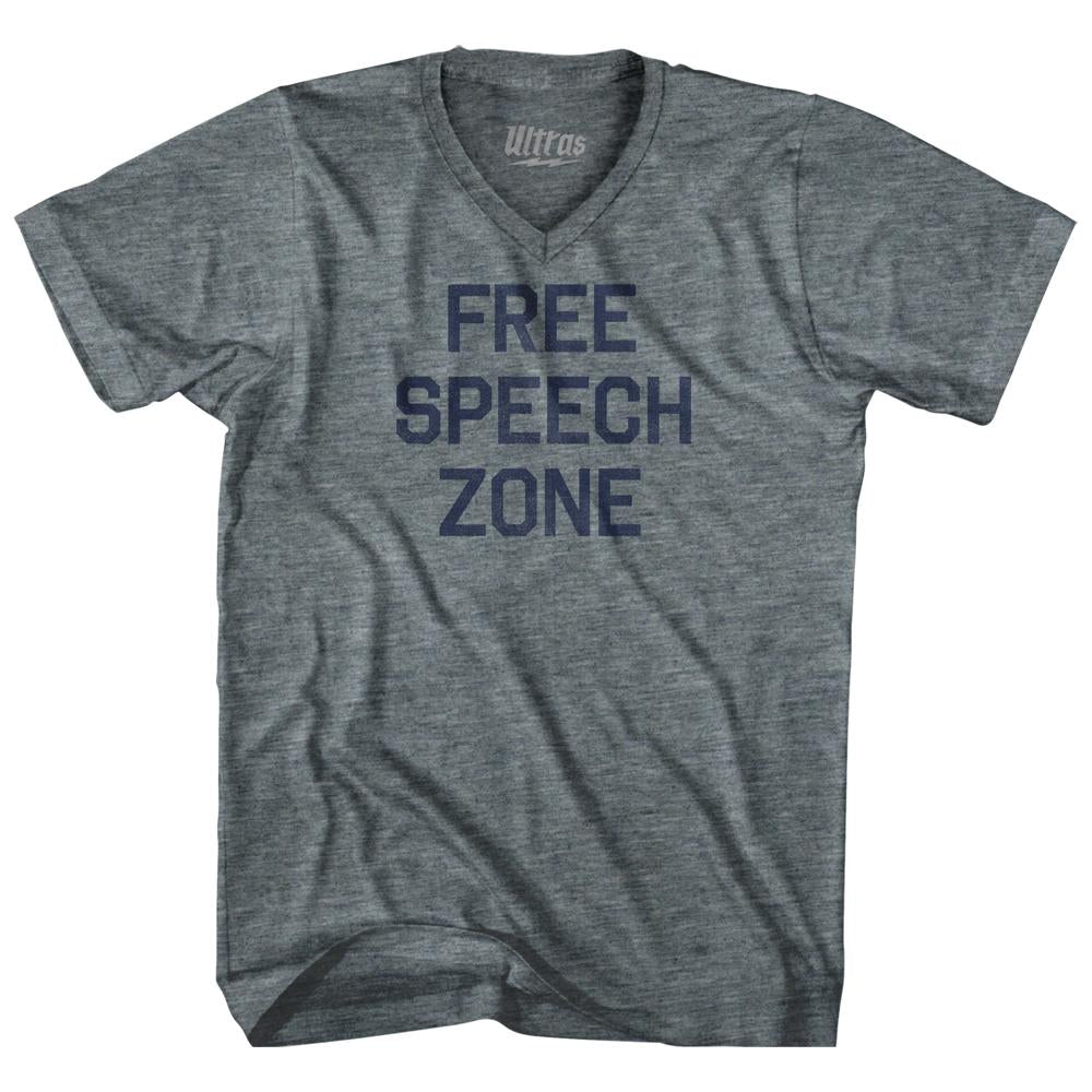 Free Speech Zone Adult Tri-Blend V-Neck Womens Junior Cut T-Shirt by Ultras