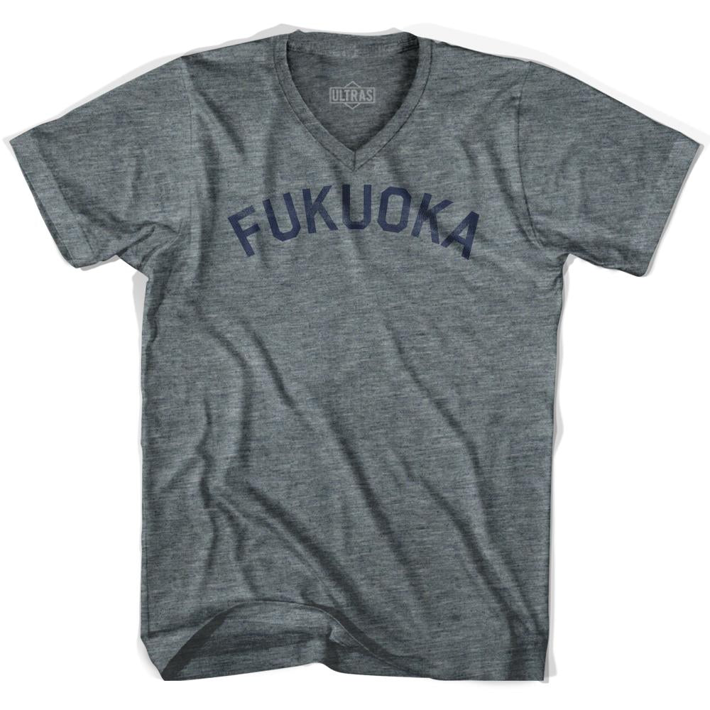 Fukuoka Vintage City Adult Tri-Blend V-neck T-shirt by Ultras