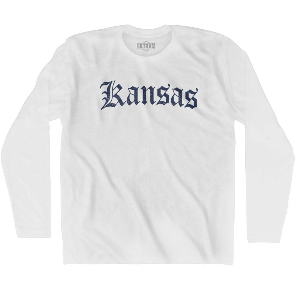 Kansas Old Town Font Long Sleeve T-shirt By Ultras