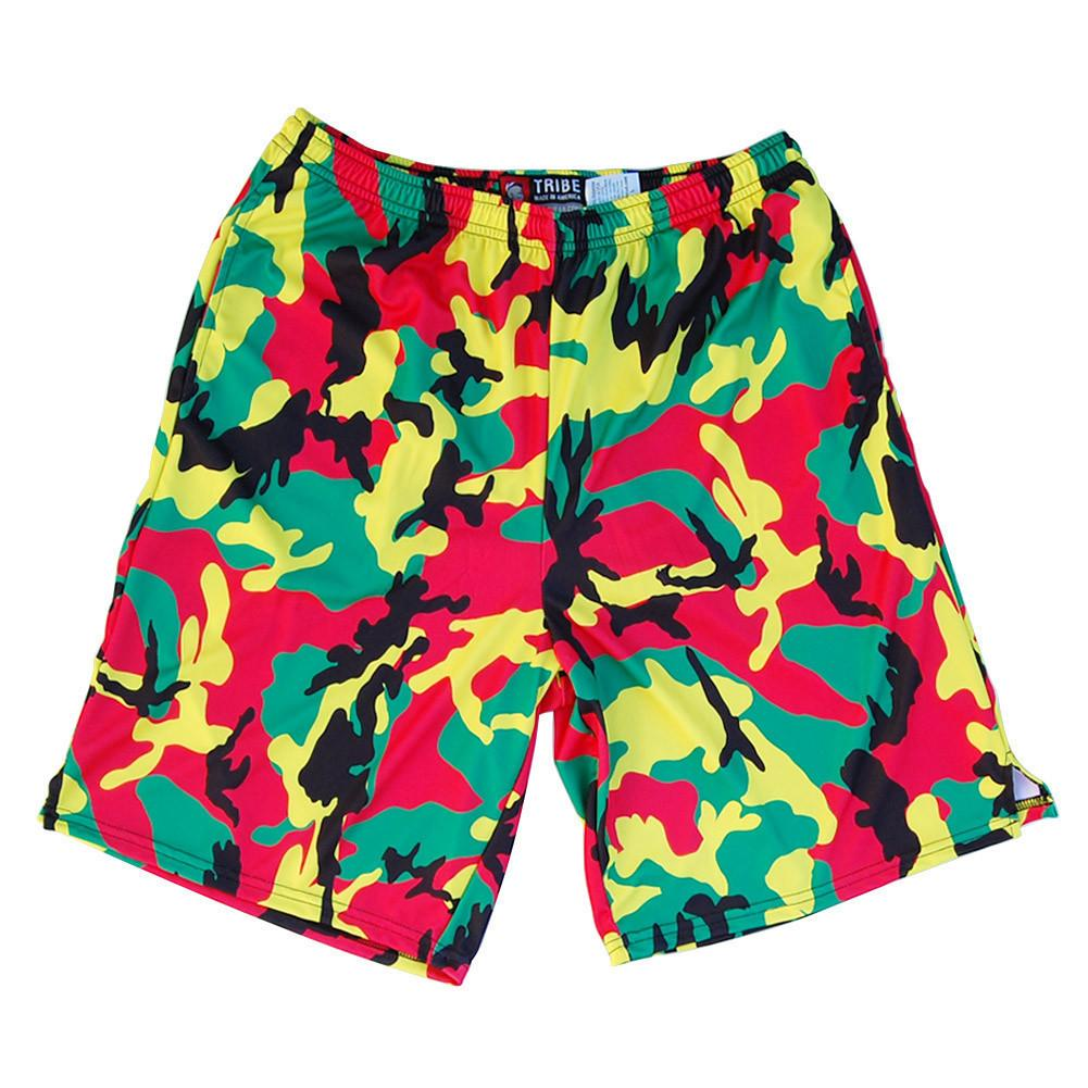 Rasta Camo Sublimated Lacrosse Shorts in Camo by Tribe Lacrosse