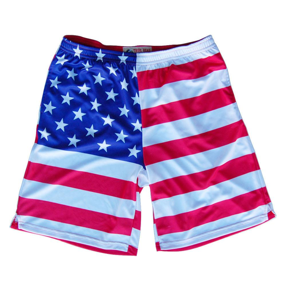 American Flag Sublimated Lacrosse Shorts in Red by Tribe Lacrosse