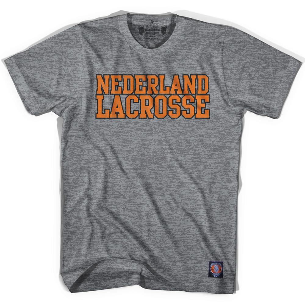 Netherlands Lacrosse Nation T-shirt in Athletic Grey by Tribe Lacrosse