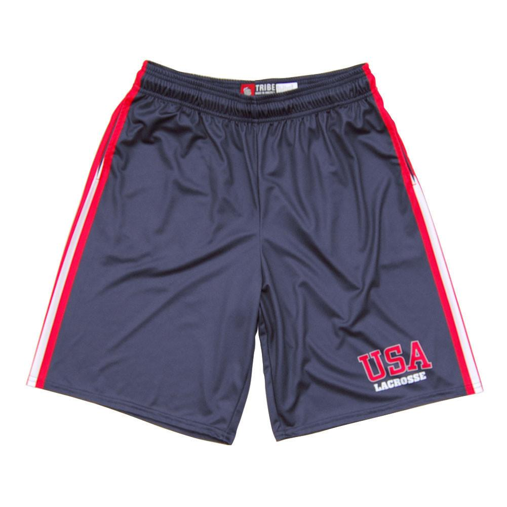 USA Lacrosse Sublimated Shorts in Navy by Tribe Lacrosse