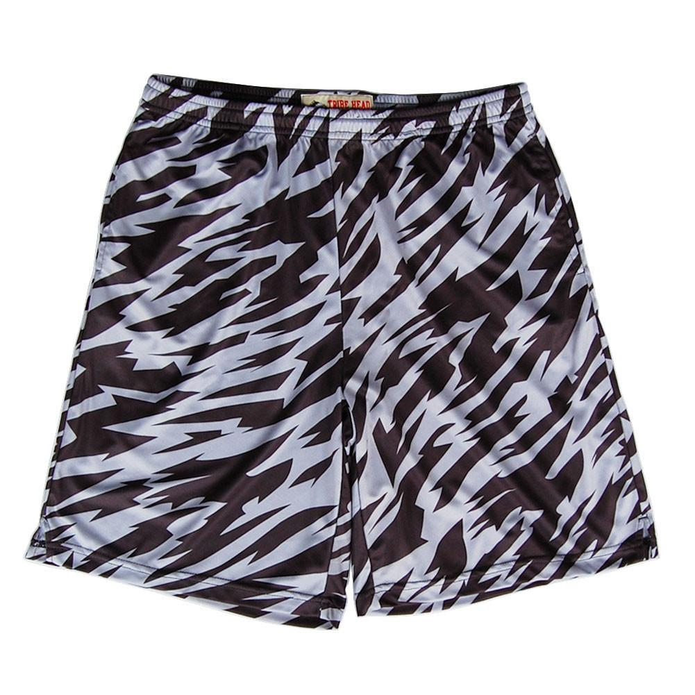 Black and Grey  Two-Tone Camo Sublimated Lacrosse Shorts in Black by Tribe Lacrosse