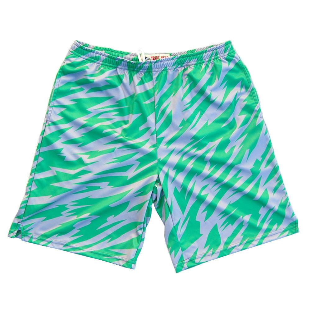 Green and Cool Grey Two-Tone Camo Sublimated Lacrosse Shorts in Green by Tribe Lacrosse