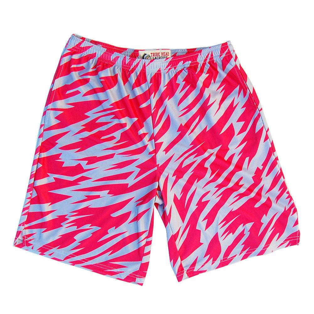 Red and Grey Two-Tone Camo Sublimated Lacrosse Shorts in Red by Tribe Lacrosse