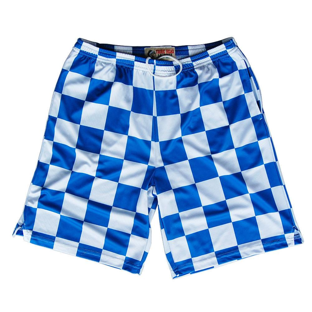 Royal and White Checkerboard Sublimated Lacrosse Shorts in Royal by Tribe Lacrosse