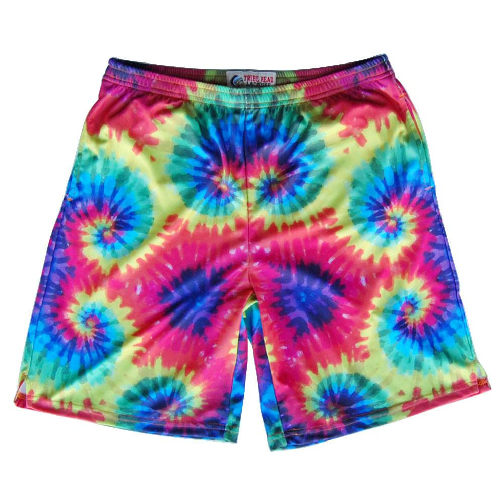 Tie Dye Sublimated Lacrosse Shorts in Red by Tribe Lacrosse