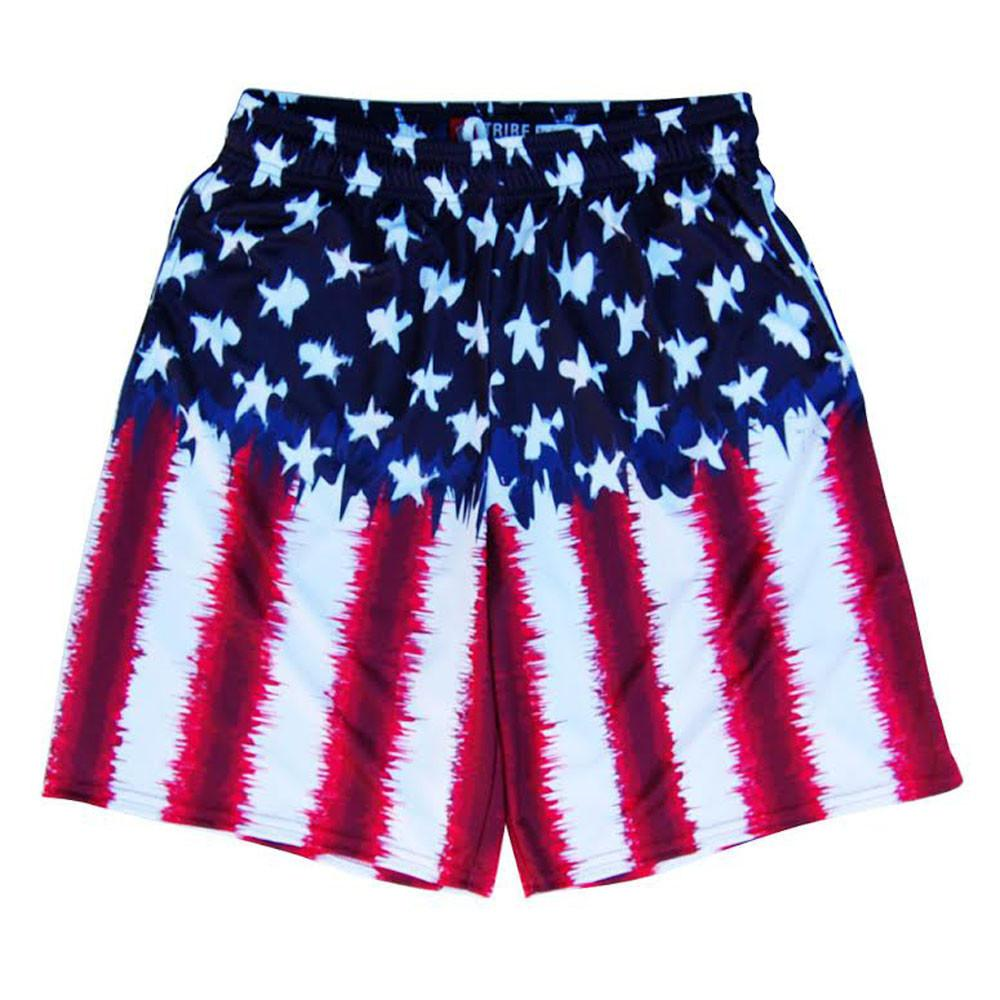 American Flag Tie Dye Sublimated Lacrosse Shorts in Red White & Blue by Tribe Lacrosse
