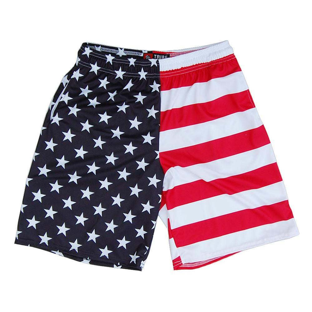 American Flag Jacks Sublimated Lacrosse Shorts in Red White & Blue by Tribe Lacrosse