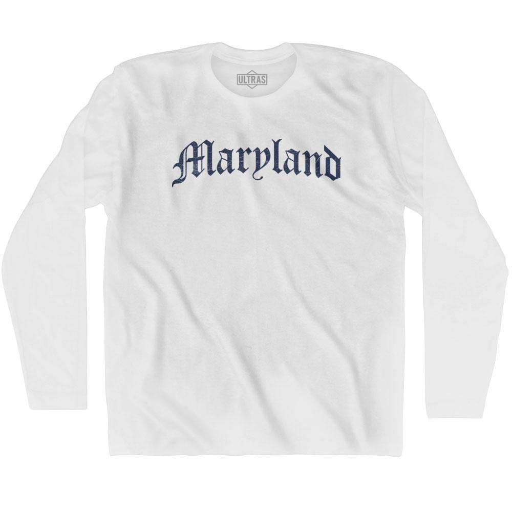 Maryland Old Town Font Long Sleeve T-shirt By Ultras