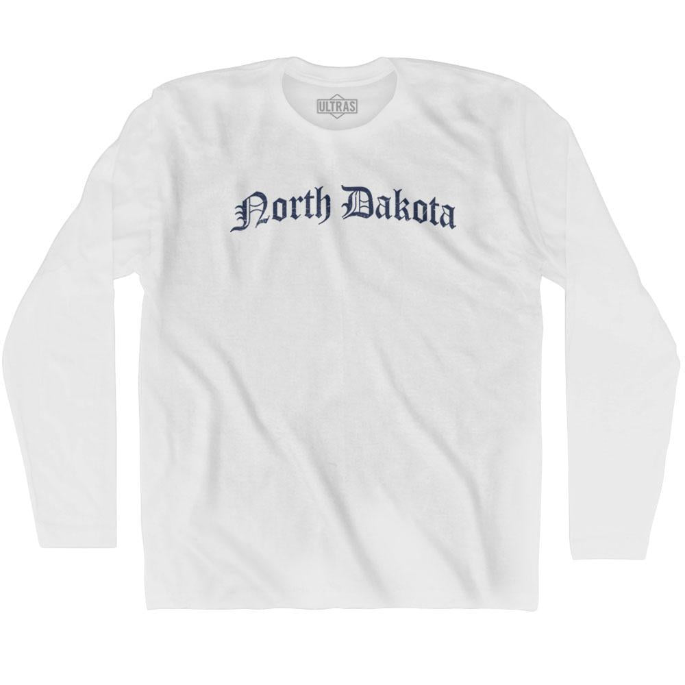 North Dakota Old Town Font Long Sleeve T-shirt By Ultras