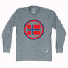 Norway Vintage Crest Soccer Long Sleeve T-shirt in Athletic Grey by Ultras