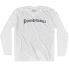 Pennsylvania Old Town Font Long Sleeve T-shirt By Ultras