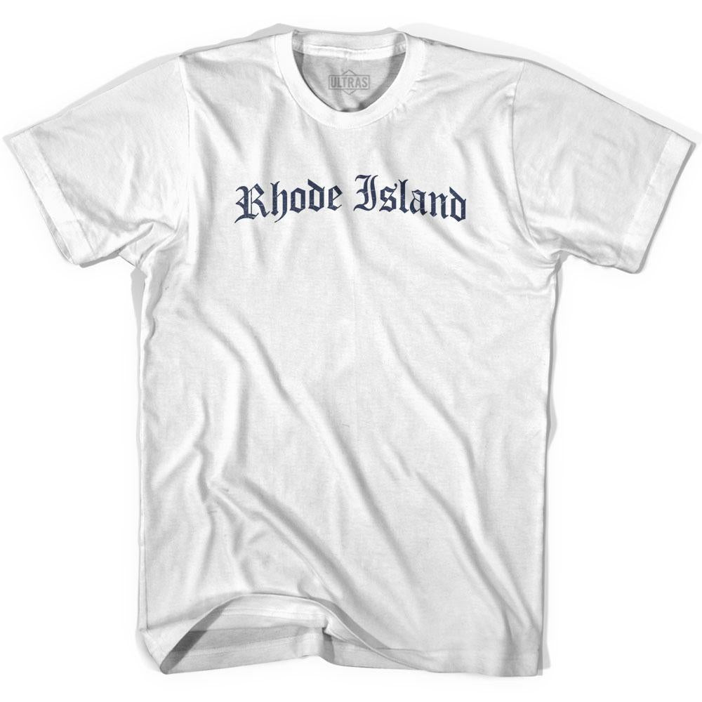 Womens Rhode Island Old Town Font T-shirt By Ultras