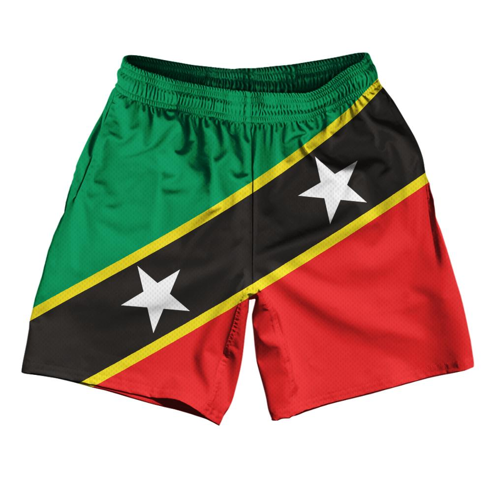 "Saint Kitts & Nevis Country Flag Athletic Running Fitness Exercise Shorts 7"" Inseam Made In USA By Ultras Sportswear"