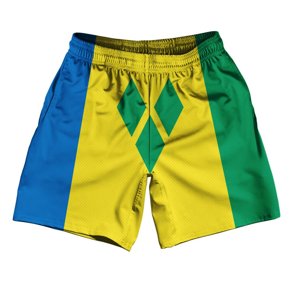 "Saint Vincent & The Grenadines Country Flag Athletic Running Fitness Exercise Shorts 7"" Inseam Made In USA By Ultras Sportswear"