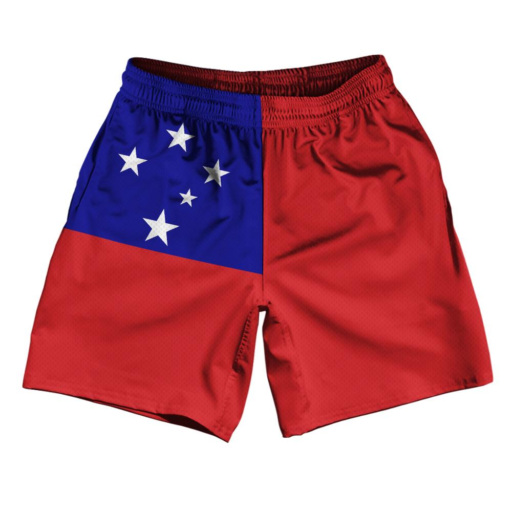 "Samoa Country Flag Athletic Running Fitness Exercise Shorts 7"" Inseam Made In USA By Ultras Sportswear"
