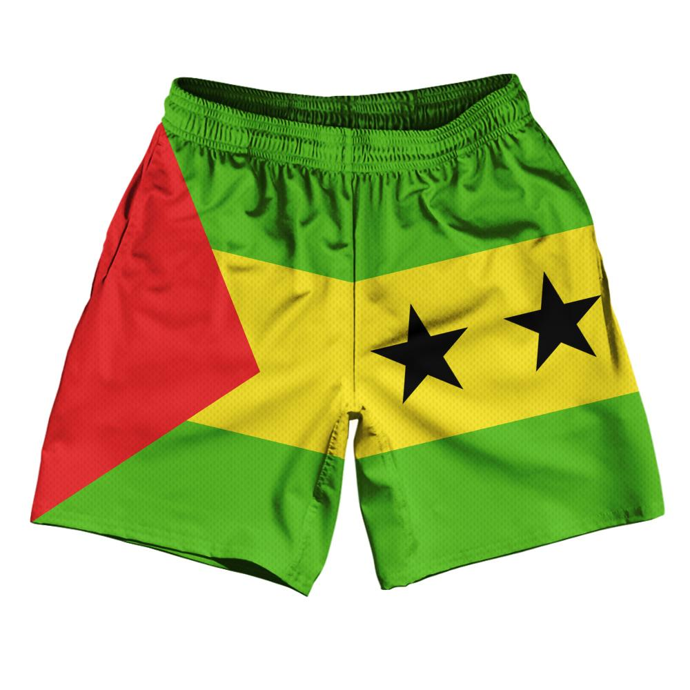 "Sao Tome & Principe Country Flag Athletic Running Fitness Exercise Shorts 7"" Inseam Made In USA By Ultras Sportswear"