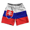 "Slovakia Country Flag Athletic Running Fitness Exercise Shorts 7"" Inseam Made In USA By Ultras Sportswear"