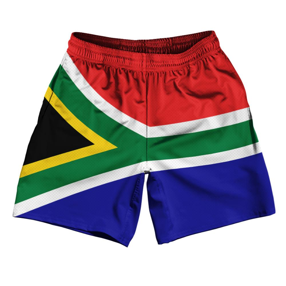 "South Africa Country Flag Athletic Running Fitness Exercise Shorts 7"" Inseam Made In USA By Ultras Sportswear"