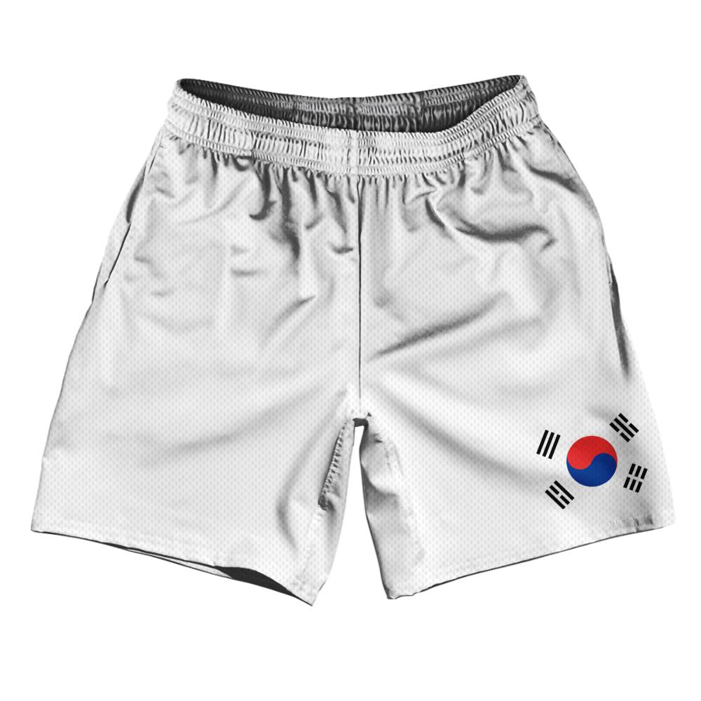"South Korea Country Flag Athletic Running Fitness Exercise Shorts 7"" Inseam Made In USA By Ultras Sportswear"