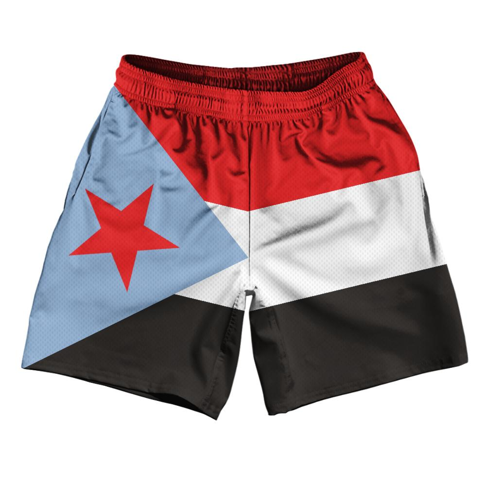 "South Yemen Country Flag Athletic Running Fitness Exercise Shorts 7"" Inseam Made In USA By Ultras Sportswear"