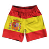 "Spain Country Flag Athletic Running Fitness Exercise Shorts 7"" Inseam Made In USA By Ultras Sportswear"