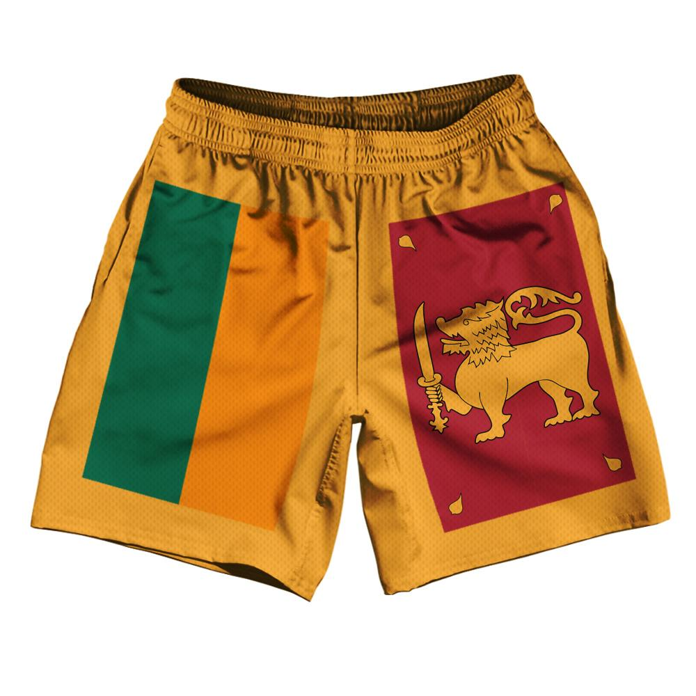 "Sri Lanka Country Flag Athletic Running Fitness Exercise Shorts 7"" Inseam Made In USA By Ultras Sportswear"