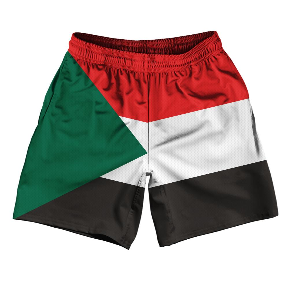 "Sudan Country Flag Athletic Running Fitness Exercise Shorts 7"" Inseam Made In USA By Ultras Sportswear"