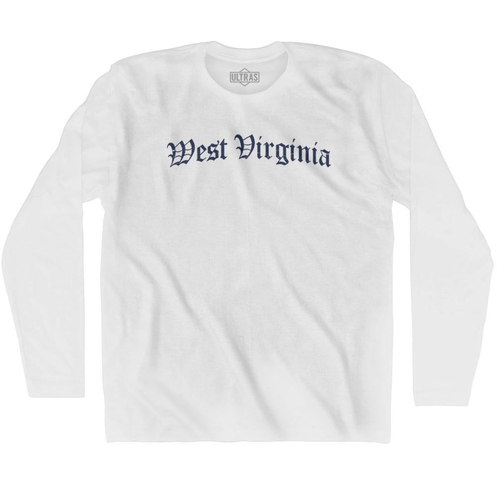 West Virginia Old Town Font Long Sleeve T-shirt By Ultras