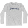Wisconsin Old Town Font Long Sleeve T-shirt