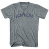 Acapulco City Vintage V-neck T-shirt in Athletic Grey by Mile End Sportswear